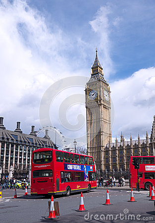 Taxi and bus in London Editorial Stock Image