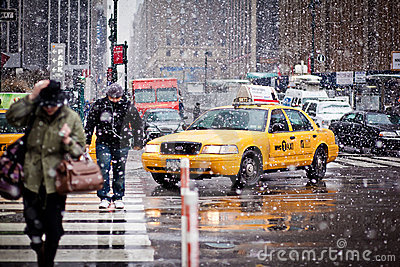 Taxi Cabs in blizzard in New York