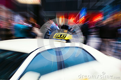 Taxi car with zoom effect