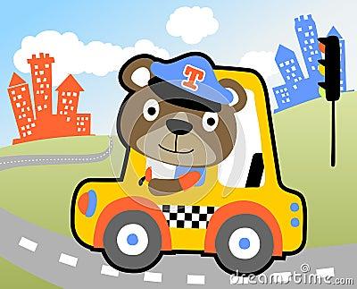 Taxi driver cartoon Vector Illustration