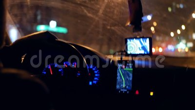 Taxi gps driver night  Inside, commuter