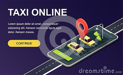 Isometric phone with map, road, taxi car and location pin on dark purple. Landing page template. 3D vector illustration. Vector Illustration