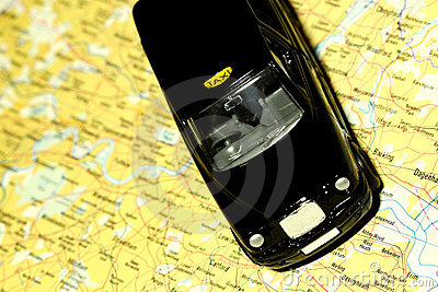 Taxi on map of London