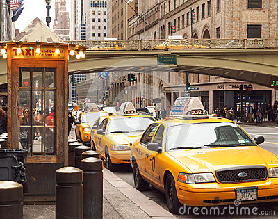 Taxi Rank, New York City Editorial Stock Image