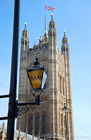 Taxi sign at Houses of Parliament Lonon