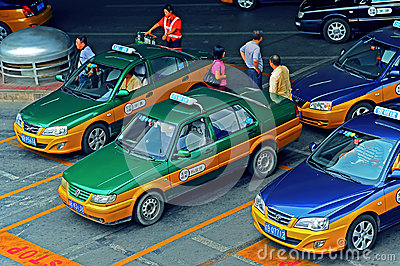 Taxi stand, beijing capital international airport, china