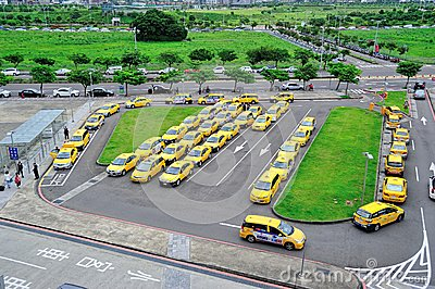 Taxi Stand in Hsinchu High Speed Rail Station Editorial Stock Photo