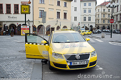 Taxi in Prague Editorial Stock Photo