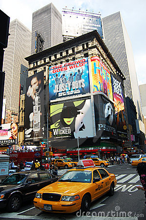 Taxi at Times Square in NYC Editorial Photography