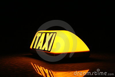 Taxi yellow sign