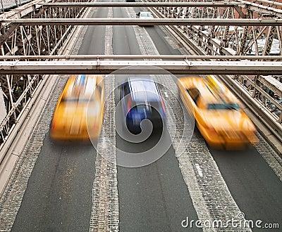 Taxis on Brooklyn Bridge