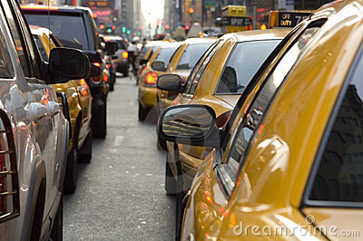 Taxis in New York waiting in traffic