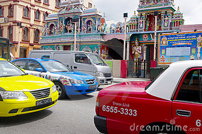 Taxis in a traffic jam, Singapore Editorial Photography