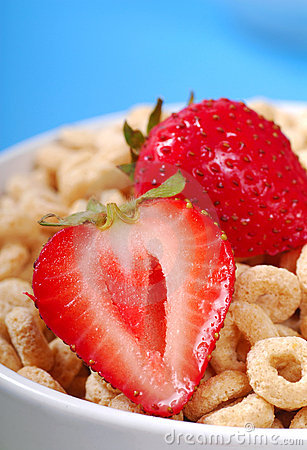 Tazón de fuente de cereal de la avena con las fresas