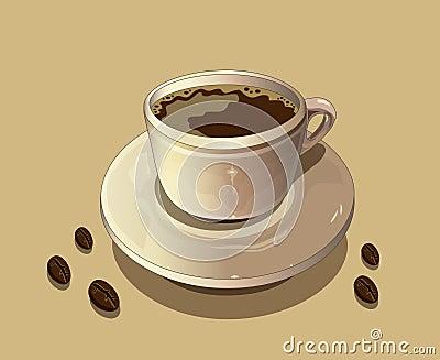 Taza de café y de granos de café calientes