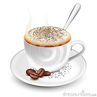 Taza de cappuccino caliente