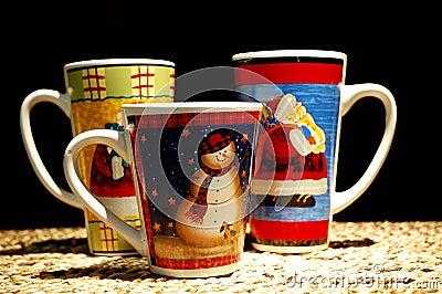 Tazze del cioccolato caldo di natale fotografie stock for Tazze da regalare a natale