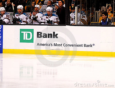 TD Bank on hockey dasher Editorial Image
