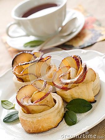 Free Tea And Apple Cake Stock Image - 17829451