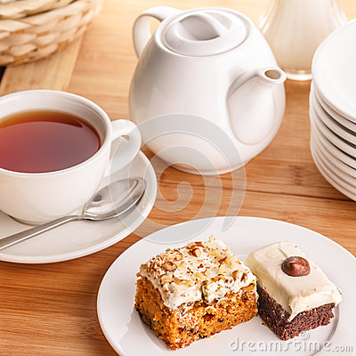 Free Tea And Cake Slices Royalty Free Stock Photos - 37636798
