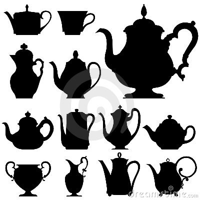 Free Tea And Coffee Pots In Vector Silhouette Royalty Free Stock Photography - 8708747