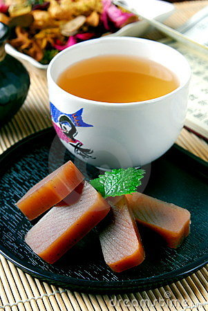 Free Tea And Red Bean Jelly Stock Images - 15175914
