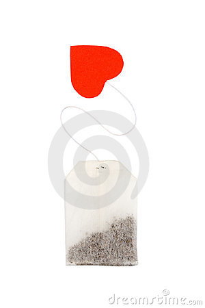 Tea bag with heart-shaped red label