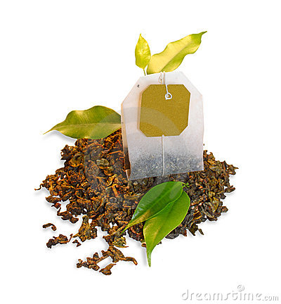 Tea bag with leaves