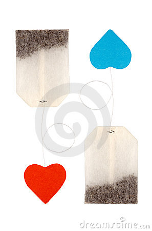 Tea bags with heart-shaped labels
