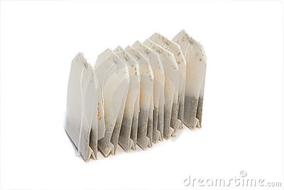 Tea bags on isolated background
