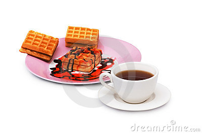 Tea and belgian waffles isolated