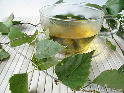 Tea with birch leaves