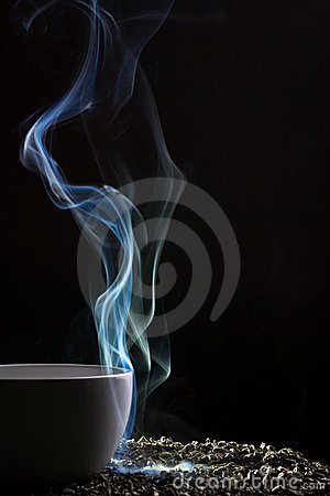 Tea and blue smoke