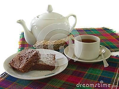 Tea with brownie