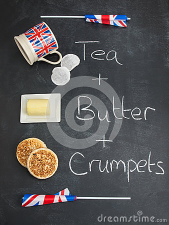 Free Tea Butter And Crumpets On A Blackboard With British Flags Royalty Free Stock Image - 41280936