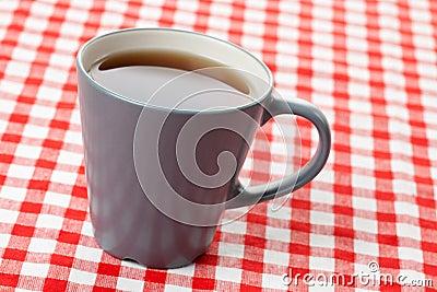 Tea on checkered tablecloth