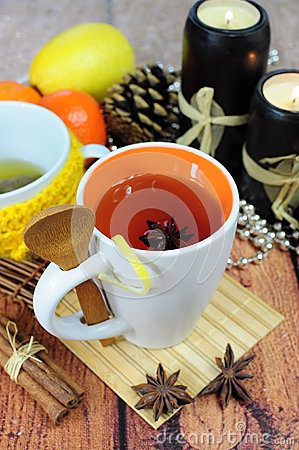 Tea in cup with anise
