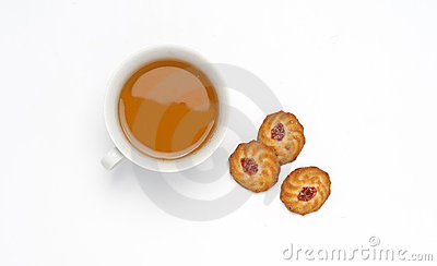 Tea in the cup with biscuits