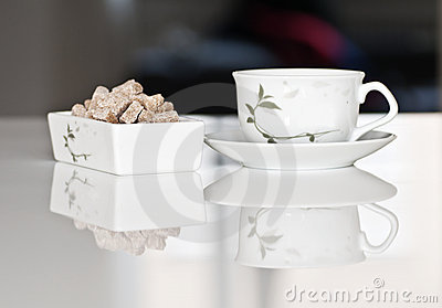 Tea cup with brown sugar