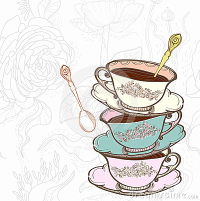 Tea cup floral background
