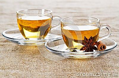 Tea cup over rough textile
