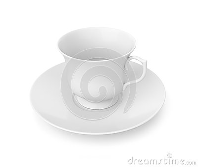 Tea cup and saucer on white