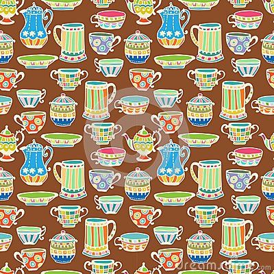 Tea cup seamless background