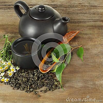 Tea - cup, teapot, leaves