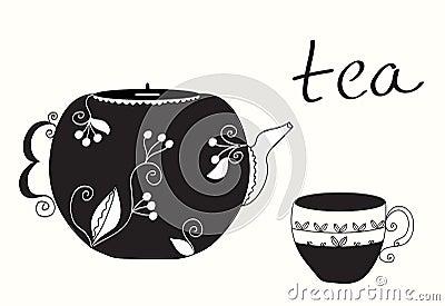 Tea cup and teapot menu