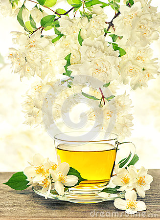 Free Tea Cup With Jasmine Flowers Royalty Free Stock Photos - 45217638