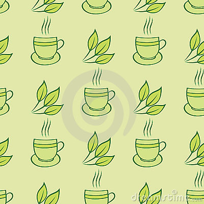 Tea cups and leaves seamless pattern