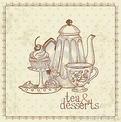 tea and desserts vintage menu card stock photos image 26801023. Black Bedroom Furniture Sets. Home Design Ideas