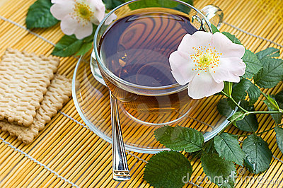 Tea with dog-rose blossom
