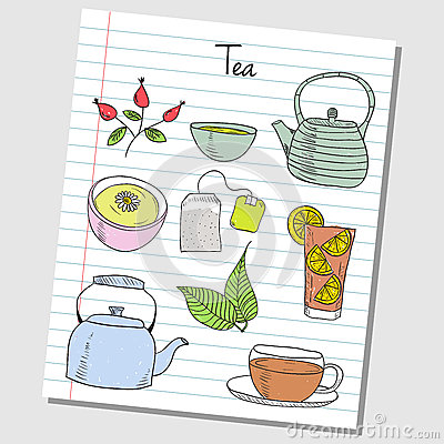 Free Tea Doodles - Lined Paper Stock Images - 31850244